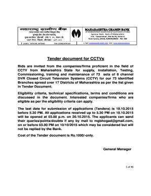 Fillable Online Tender Document For Cctvs Maharashtra Gramin Bank Fax Email Print Pdffiller