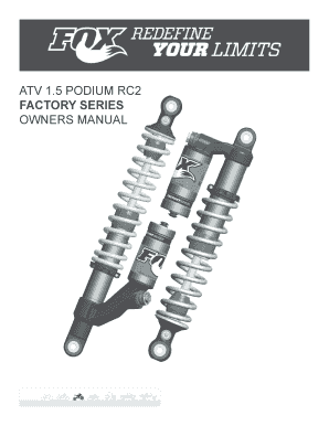 Fillable Online ATV 15 PODIUM RC2 FACTORY SERIES OWNERS