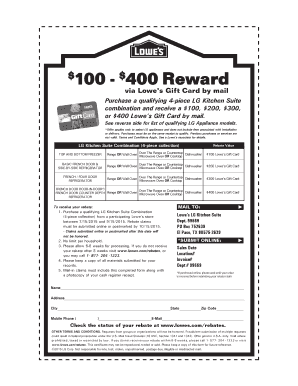 Fillable Online $ 100 $400 Reward via Lowes Gift Card by