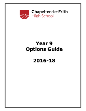 Fillable Online chapelhigh org Year 9 Options Booklet (PDF