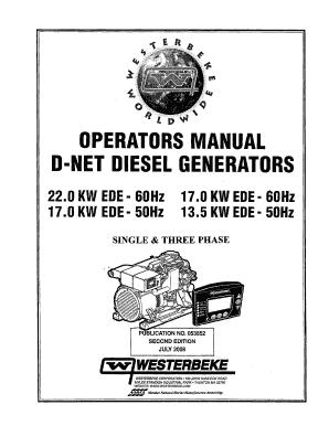 Fillable Online Operators manual d-net diesel generators