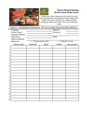 Fillable Online Panera Bread Catering Boxed Lunch Order Form To ...