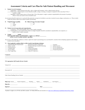 Fillable Online Assessment Criteria and Care Plan for Safe