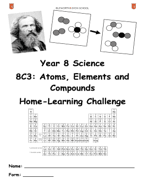 Fillable Online isleworthsyon Year 8 Science 8C3 Atoms