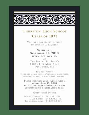 Fillable Online Thurston high school class of 1973 reunion