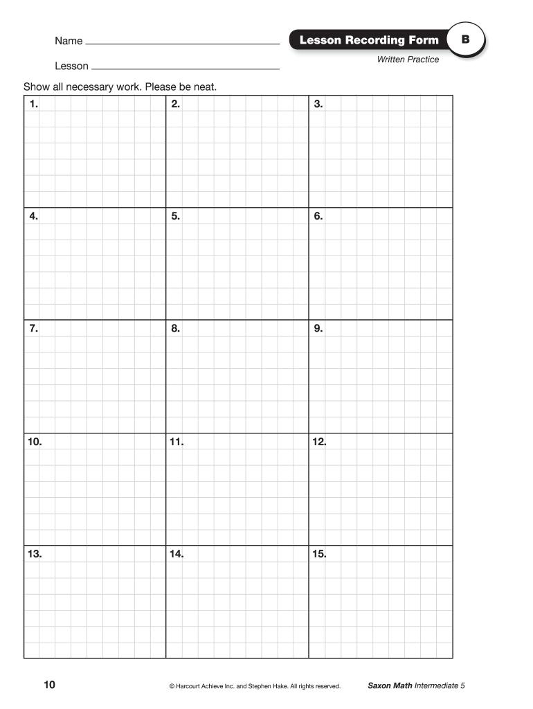 medium resolution of Saxon Math Recording Form B Pdf - Fill Online