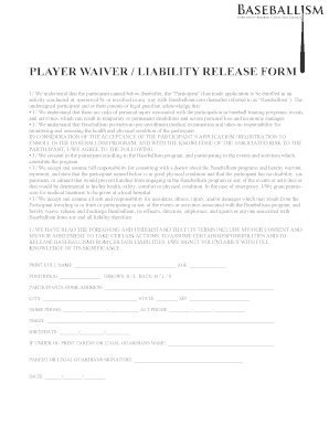 Fillable Online Player waiver / liability release form