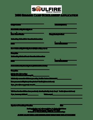 Fillable Online 2008 SUMMER CAMP SCHOLARSHIP APPLICATION