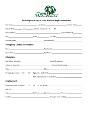 Fillable Online Reno Bighorns Dance Team Audition