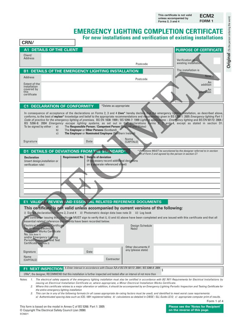 emergency lighting certification fill online printable fillable blank pdffiller