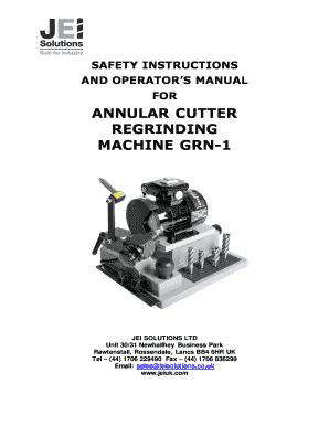 Fillable Online ANNULAR CUTTER REGRINDING MACHINE GRN-1