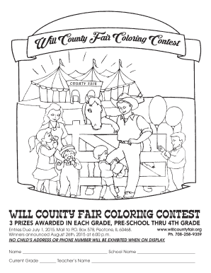 Fillable Online WILL COUNTY FAIR COLORING CONTEST Fax