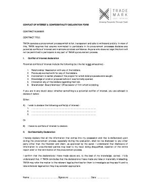 Submit conflict of interest declaration form for procurement Samples ...