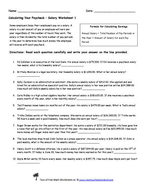 Salary Worksheet 1