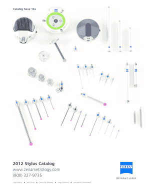 Fillable Online B2012b Stylus Catalog wwwzeissmetrologycom