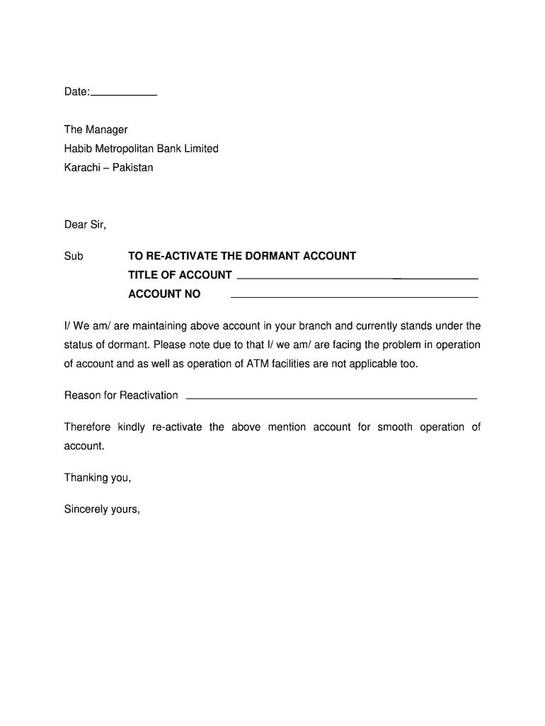 Bank Account Reactivation Letter Sample Fill Online Printable Fillable Blank Pdffiller