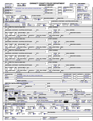 Fillable Online GWINNETT COUNTY POLICE DEPARTMENT INCIDENT REPORT Fax Email Print PDFfiller