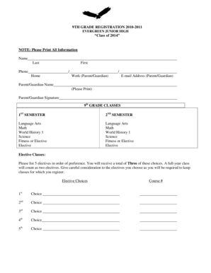 Fillable Online lwsd 9th Grade Registration Form and