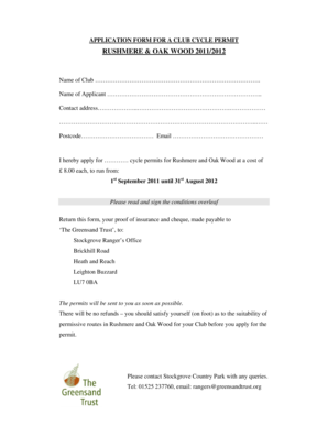 Fillable Online Club CYCLE PERMIT application form