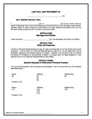 Bill Of Sale Form North Carolina Last Will And Testament Form ...