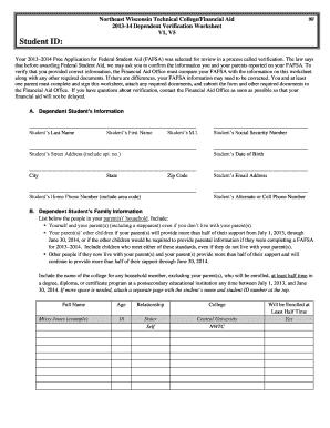 Fillable Online Nwtc Dependent Verification Worksheet