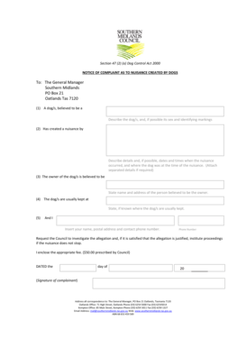 Fillable Online Notice of Complaint as to Nuisance Created