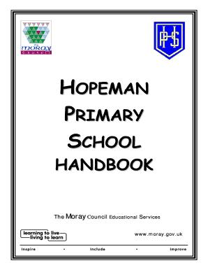 Fillable Online moray gov HOPEMAN PRIMARY SCHOOL HANDBOOK