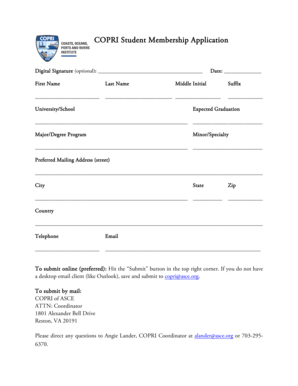Fillable Online asce COPRI Student Member Application