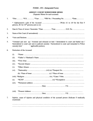 Arrest Memo Format - Fill Online, Printable, Fillable, Blank | PDFfiller