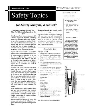 19 Printable job safety analysis osha Forms and Templates