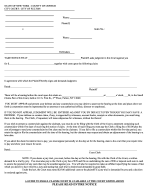 Get small claims court new york state PDF Form Samples to Fill Online   affidavit-of-no-demand-new-york.com