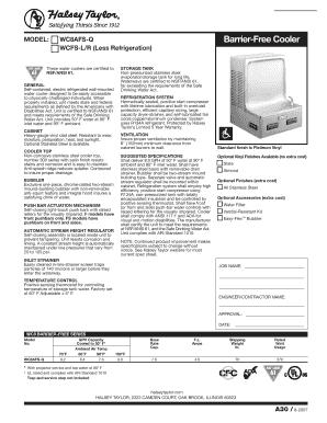 Fillable Online MODEL WC8AFS-Q Barrier-Free Cooler WCFS-LR