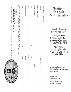 Fillable Online Minneapolis Orthopedic Casting Workshop