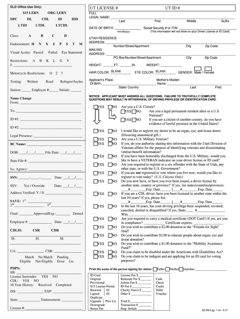 2013 Form UT DLD6a Fill Online, Printable, Fillable, Blank