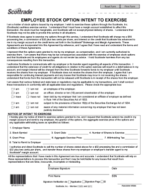 Fillable Online Employee Stock Option Intent to Exercise - Scottrade Fax Email Print - PDFfiller