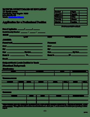 Fillable Online boe faye k12 wv Professional Application