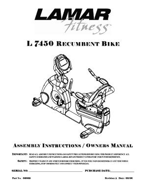 Fillable Online Lamar L7450 Recumbent Bike Operation