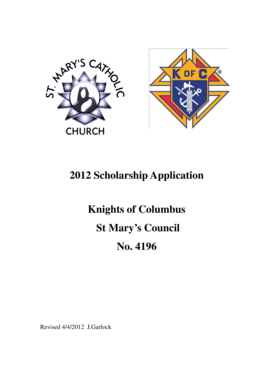 Fillable Online 2012 Scholarship bApplicationb Knights of
