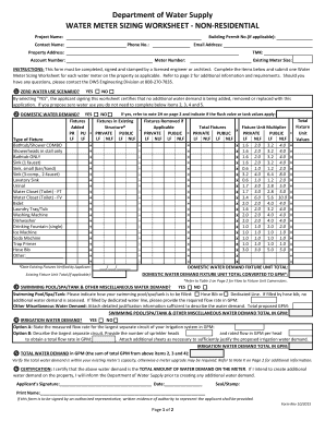 Fillable Online Water Meter Sizing Worksheet for Non