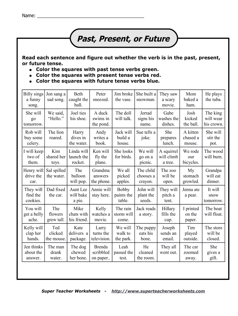 hight resolution of Verb Tenses - Fill Online