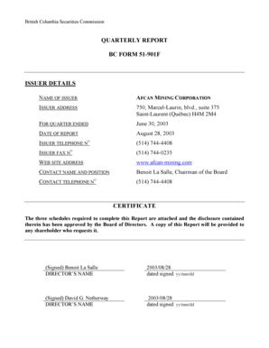 Fillable Online QUARTERLY REPORT BC FORM 51-901F ISSUER