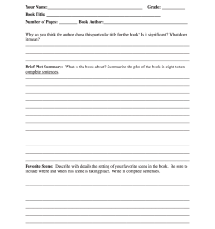 Middle School Book Report Form - Fill Online [ 1024 x 770 Pixel ]