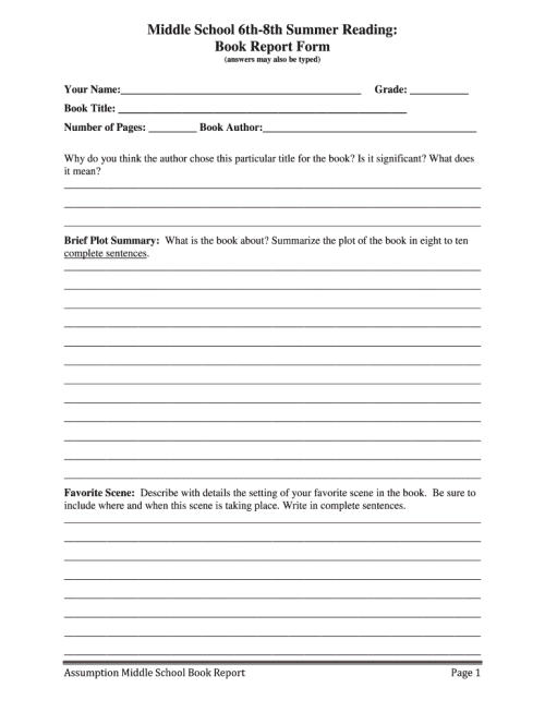 small resolution of Middle School Book Report Form - Fill Online