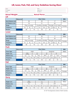 Popular weight lifting chart forms lift lower push pull carry guidelines scoring sheet metric pdf also fillable and document blanks to submit rh weightliftingchartonline