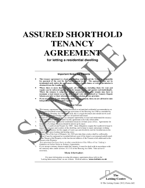 assured shorthold tenancy agreement for letting a