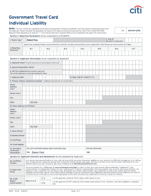 Fillable Online Government Travel Card Individual Liability - Citibank Fax Email Print - PDFfiller
