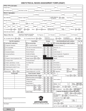 Fillable Online Obstetrical Needs Assessment Form (OBNA
