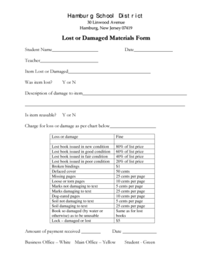 Fillable Online Lost or Damaged Materials Form Fax Email
