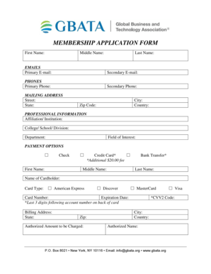 Fillable Online MEMBERSHIP APPLICATION FORM First Name