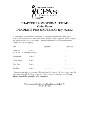 Fillable Online gscpa CHAPTER PROMOTIONAL ITEMS Order Form